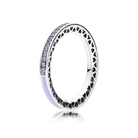 """Кольцо """"Фиолетовые сияющие сердца от PANDORA"""""""