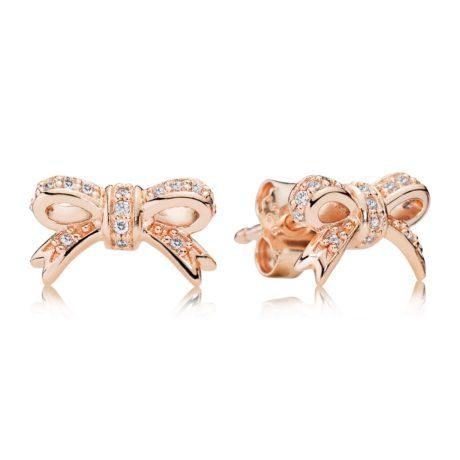 Серьги «Золотые бантики в камнях»