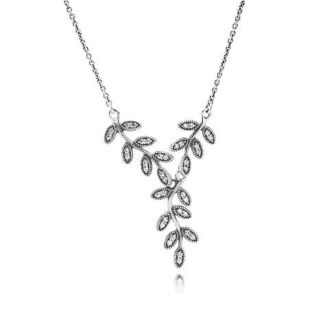 Подвеска из серебра «Листья в камнях»