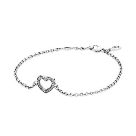 Браслет из серебра «Сердце» с кубическими циркониями