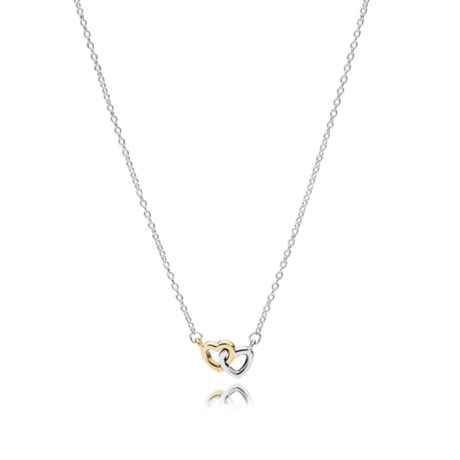 """Серебряно-золотое ожерелье """"Два сердца"""""""
