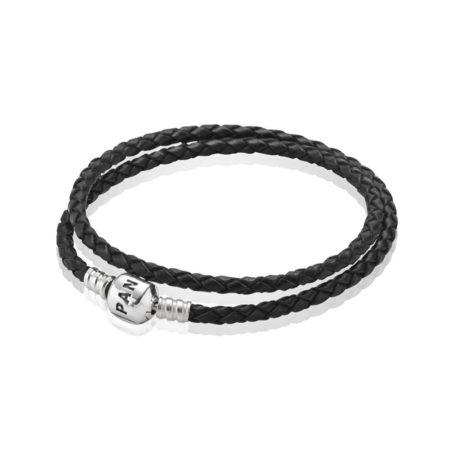 Кожаный двойной браслет черного цвета с застежкой из серебра