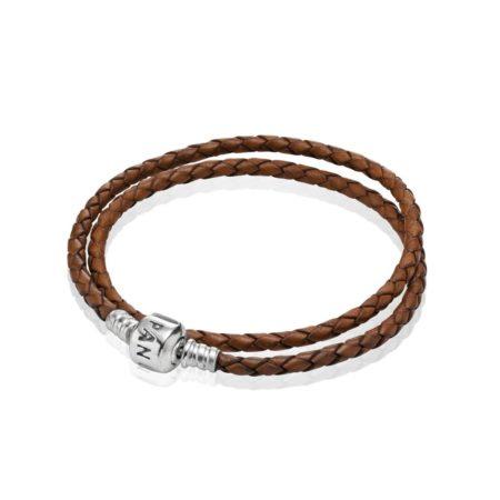 Кожаный двойной браслет коричневого цвета с застежкой из серебра