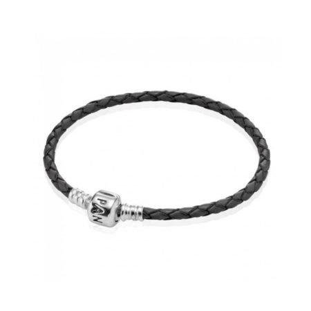 Кожаный браслет серого цвета с застежкой из серебра
