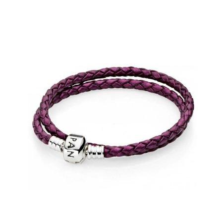 Кожаный двойной браслет фиолетового цвета с застежкой из серебра