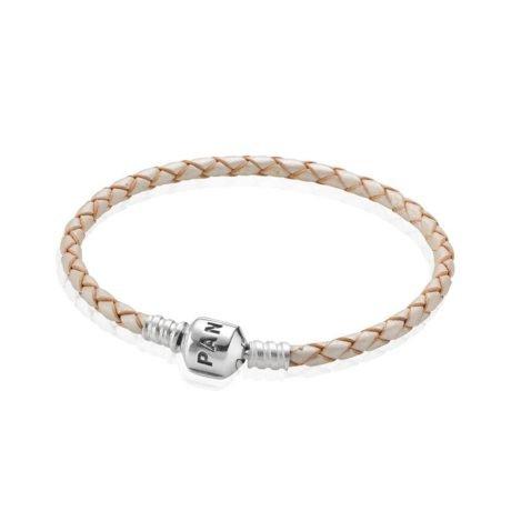 Кожаный браслет цвета шампань с застежкой из серебра