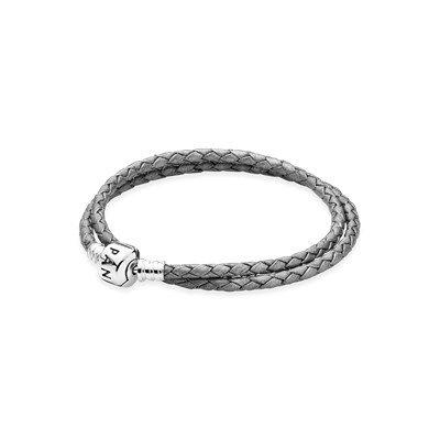 Кожаный двойной браслет серого цвета с застежкой из серебра
