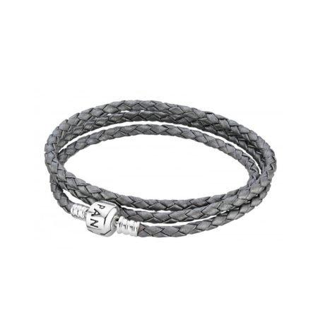 Кожаный тройной браслет серого цвета с застежкой из серебра