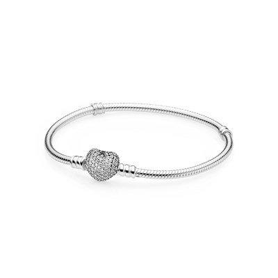 Браслет из серебра, застежка p-lock в виде сердца