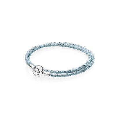Кожаный двойной браслет голубого цвета с застежкой из серебра