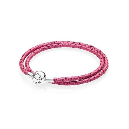 Кожаный двойной браслет розового цвета с застежкой из серебра