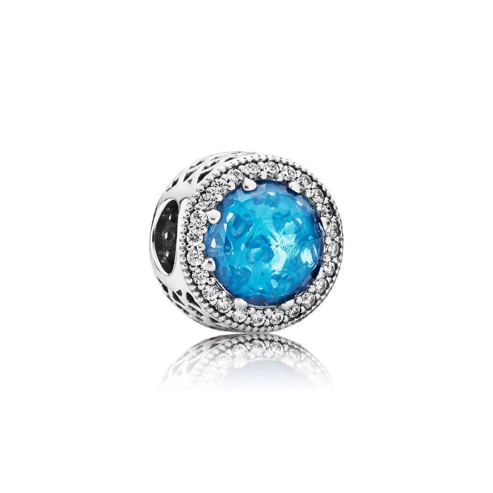 Бусина «Radiant Hearts» с голубым кристалом»