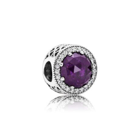 Бусина «Radiant Hearts с фиолетовым кристалом»