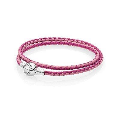 Кожаный двойной браслет темно-розового и розового цвета с застежкой из серебра