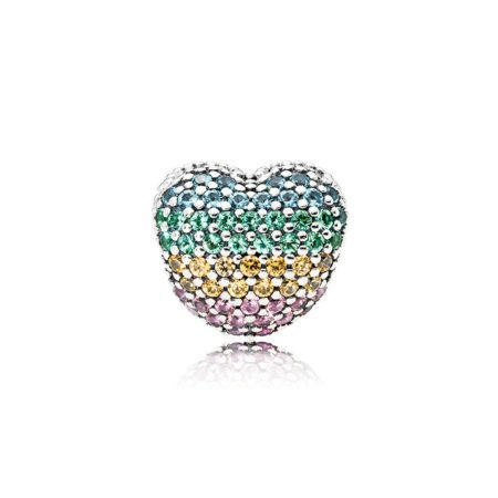 """Клипса """"Сердце с цветным кубическим цирконием"""""""