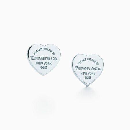 Пуссеты с подвесками в форме сердца из серебра Return to Tiffany