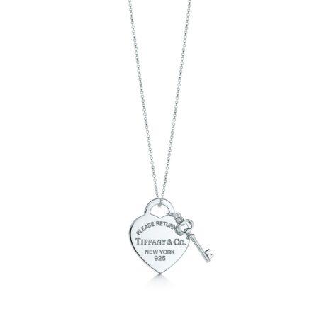 Миниатюрная двойная подвеска в форме сердца с ключом Return to Tiffany