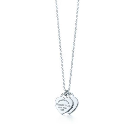 Миниатюрная двойная подвеска в форме сердца из серебра